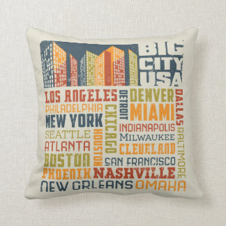 Big City USA Typography Collage Cushion