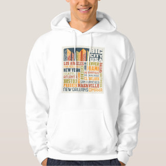 Big City USA Typography Collage Hoodie