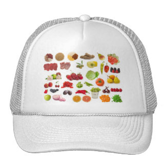 big collection of fruits and vegetables mesh hat