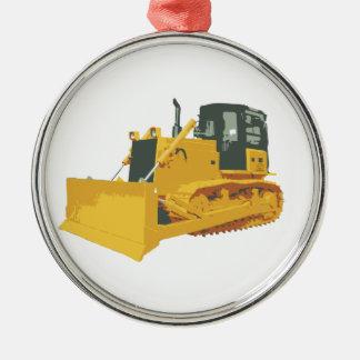 Big Construction Bulldozer on Tracks Round Metal Christmas Ornament