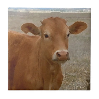 Big Cow Eyes - Red Cattle Tile