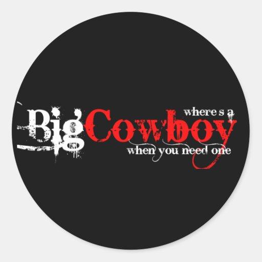 Big Cowboys Round Stickers