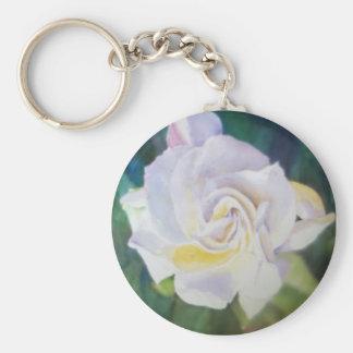 Big Creamy White Gardenia Basic Round Button Key Ring