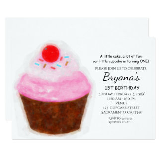 Big Cupcake & Cherry Watercolor Party Invitations