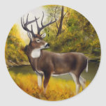 Big Deer standing in grove on customisable product Round Sticker
