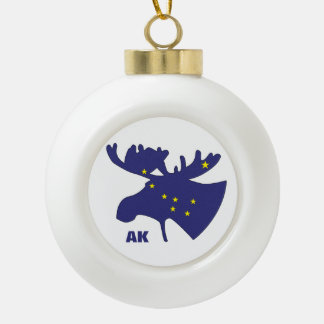 Big Dipper Moose Ceramic Ball Christmas Ornament