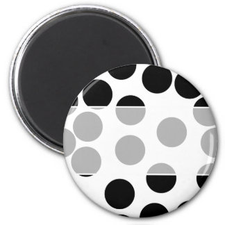 Big Dots. Black and White Pattern. 6 Cm Round Magnet