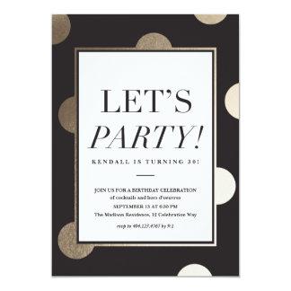 Big Dots faux foil Party Invitation