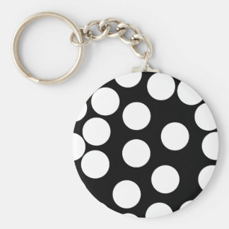 Big Dots in Black and White. Basic Round Button Key Ring