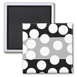 Big Dots in Black and White. Square Magnet