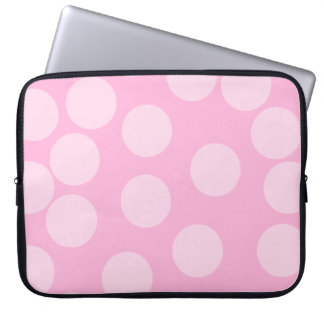 Big Dots Pattern. Pale Pink and Candy Pink. Laptop Sleeve