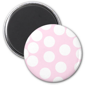 Big Dots Pattern. Pale Pink and White. 6 Cm Round Magnet