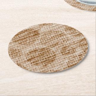 big dotted chenille,beige round paper coaster