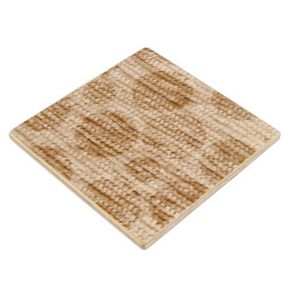 big dotted chenille,beige wood coaster