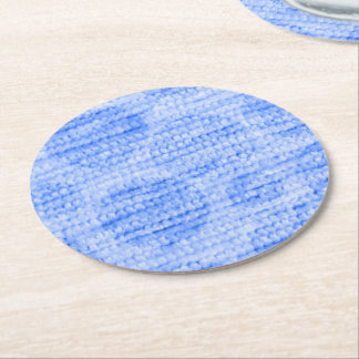 big dotted chenille,blue round paper coaster