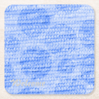 big dotted chenille,blue square paper coaster