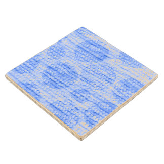 big dotted chenille,blue wood coaster