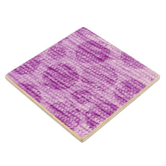 big dotted chenille,pink wood coaster