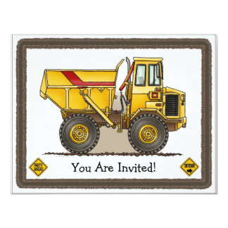 Big Dump Truck Construction Kids Party Invitation