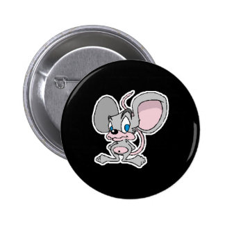 big eared cute grey mouse 6 cm round badge