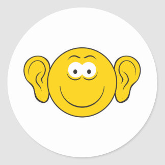 Big Ears Smiley Face Round Sticker