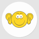 Big Ears Smiley Face Round Stickers