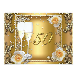 "Big Elegant Gold 50th Wedding Anniversary Party 6.5"" X 8.75"" Invitation Card"