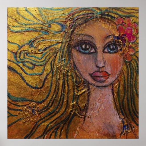 Big Eye Art Folk Art Girl Flowers Whimsical Fairy Poster