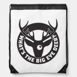 Big Eye Deer Black Drawstring Bag