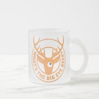 Big Eye Deer Worn Orange Frosted Glass Coffee Mug