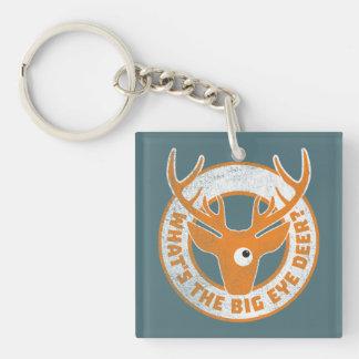 Big Eye Deer Worn Orange Key Ring