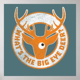 Big Eye Deer Worn Orange Poster