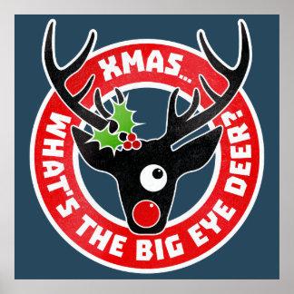 Big Eye Deer Xmas Worn Poster