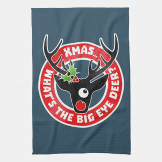 Big Eye Deer Xmas Worn Tea Towel