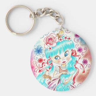 Big Eye Girl With Blue Hair, Swirls and Birds Keychain