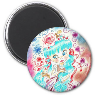 Big Eye Girl With Blue Hair, Swirls and Birds Refrigerator Magnets