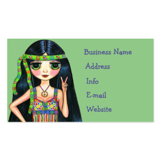 Big Eye Hippie Chick Flashing Peace Sign 1960s Pack Of Standard Business Cards