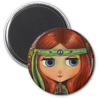 Big-Eye Hippie Doll 6 Cm Round Magnet