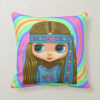 Big Eye Hippie Doll Girl in Blue Headband Cushion