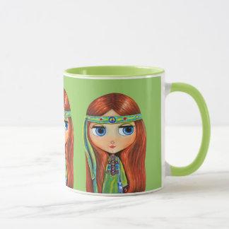 Big Eye Hippie Girl in Green with Peace Sign Mug