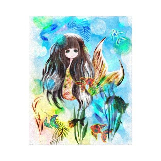Big eye mermaid fantasy art children illustration canvas print