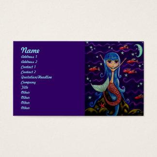 Big Eye Mermaid & Flying Fish Crescent Moon Business Card