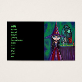 Big Eye Witch with Falcon and Dragon Occult Business Card