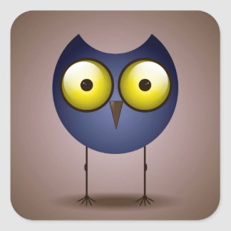 Big Eyed Blue Owl Square Stickers