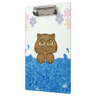 Big Eyed Cat in Water Clipboard