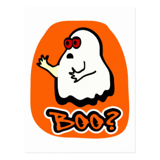 """Big-Eyed Cute Ghost With """"Boo?"""" & Background Postcard"""