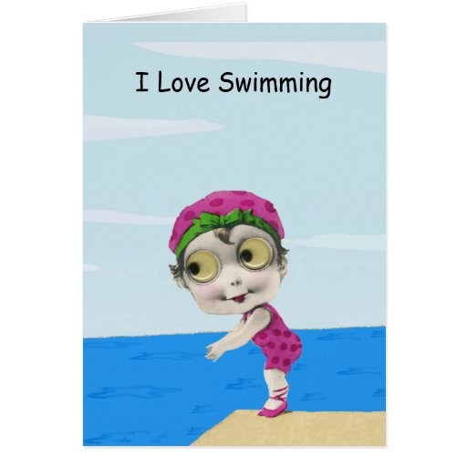 Big Eyed Girl Swimmer Note Card