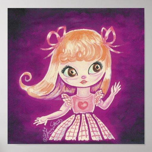 Big Eyed girl with orange hair and brown eyes Print