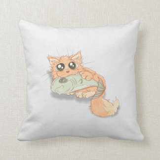 Big Eyed Kitty With A Fish Artwork Throw Pillow