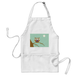 Big Eyed Owl on Branch with Full Moon Standard Apron